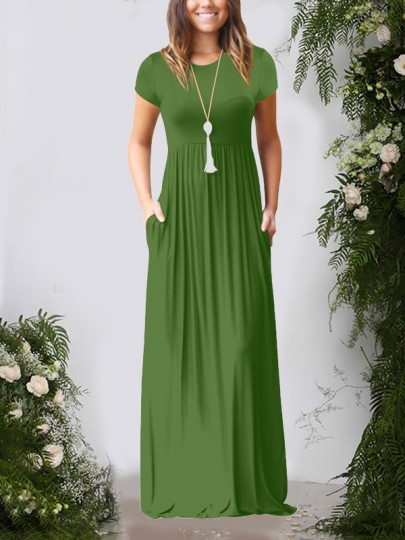 Green Pockets Short Sleeve Round Neck Loose Casual Ladies Maxi Dress