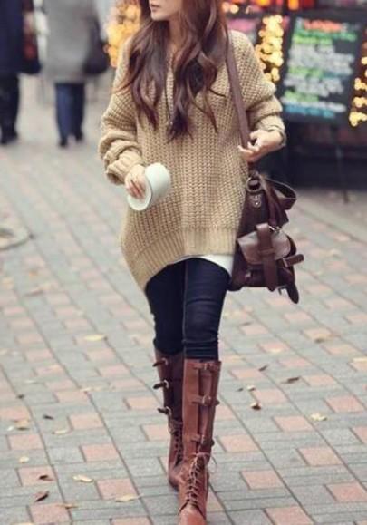 Pull en tricot à capuche chauve souris manches longues ample décontracté femme abricot