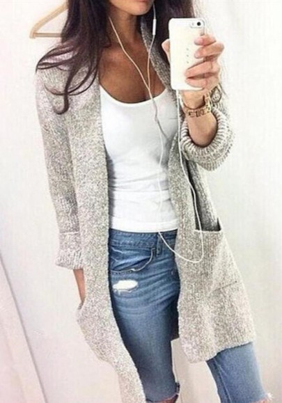 Grey Pockets Crop Plus Size Long Sleeve Casual Going out Cardigan Sweater