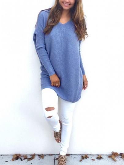 Grey Plain V-neck Long Sleeve Fashion Knit Pullover Sweater