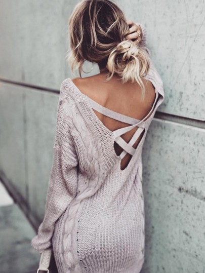 Light Purpal Cut Out Cross Back V Neck Casual Pullover Sweater Dress