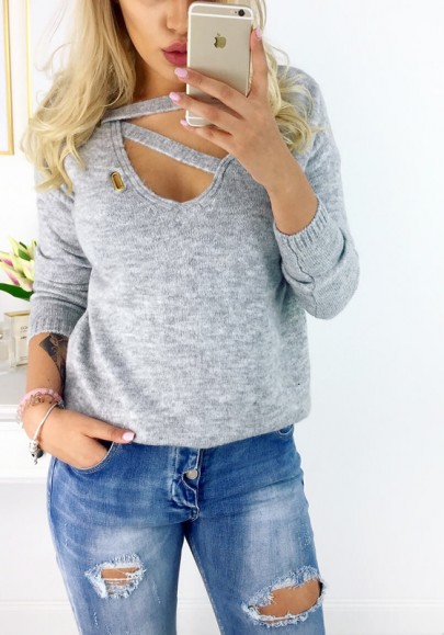 Grey Cut Out V-neck Long Sleeve Fashion Pullover Sweater