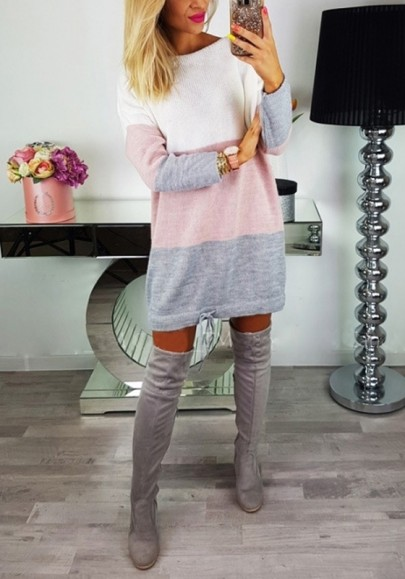 Rosa Splicing Farbblock Tunnelzug Rundhals Langarm Mode Longpullover Sweater Damen Sweatkleid