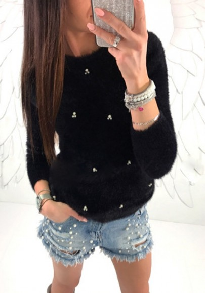 Mohair angora pull perle col ronde manches longues mode femme noir