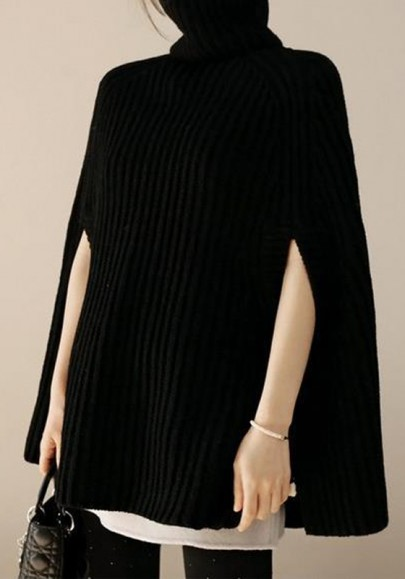 Black Cut Out High Neck Fashion Oversized Cape Pullover Sweater