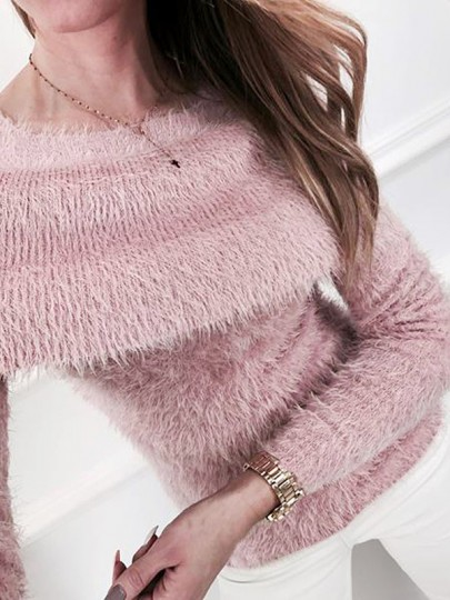 Pink Cut Out Long Sleeve Casual Pullover Sweater