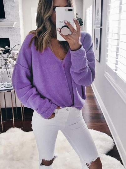 Purple Print V-neck Long Sleeve Casual Pullover Sweater