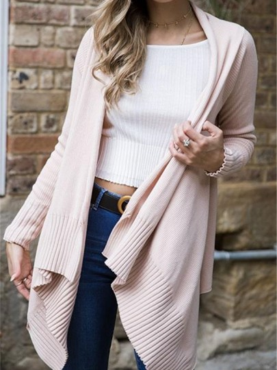 Pink Irregular Long Sleeve Casual Cardigans Sweater