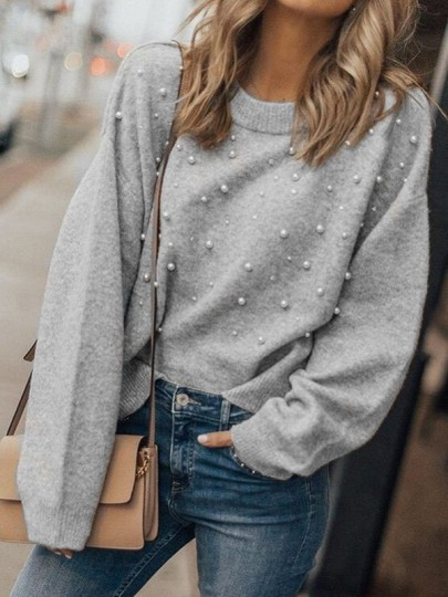 Grey Patchwork Pearl Round Neck Long Sleeve Fashion Pullover Sweater