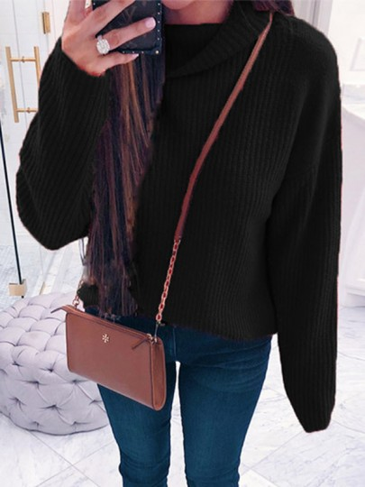 Black High Neck Casual Pullover Sweater