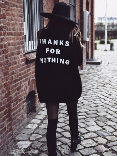 Schwarz THANKS FOR NOTHING Langarm Grobe Oversize Cardigan Strickjacke Sweater Damen Mode