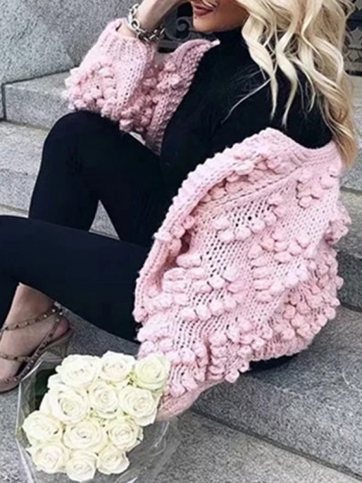 Pink Love Pom Round Neck Long Sleeve Going out Cardigan Knitted Sweater