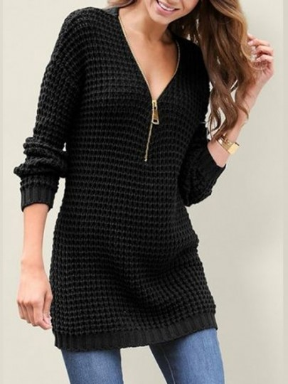 Black Zipper V-neck Long Sleeve Casual Pullover Sweater