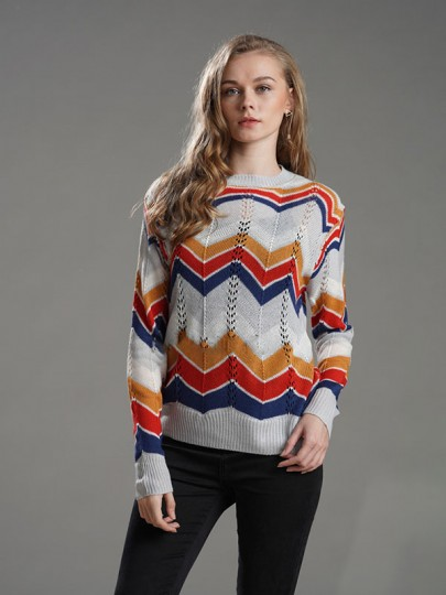 Grey Rainbow Striped Cut Out Long Sleeve Round Neck Fashion Knitwear Jumper Pullover Sweater
