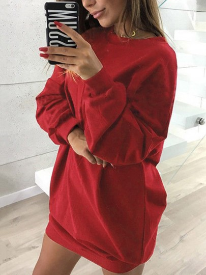 Wine Red Plain Round Neck Casual Pullover Sweatshirt
