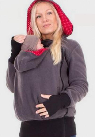 Lila Rot Punkte Reißverschluss Känguru Baby Babysachen Tragejacke mit Babyeinsatz Sweatjacke für Mama und Baby