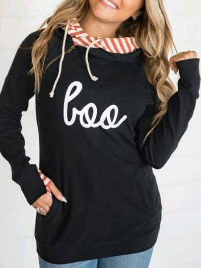 Black Striped Love Pattern Zipper Pockets Double Hooded Casual Pullover Sweatshirt