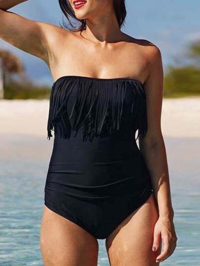 Black Tassel Bandeau Off-Shoulder Backless One Piece Swimwear
