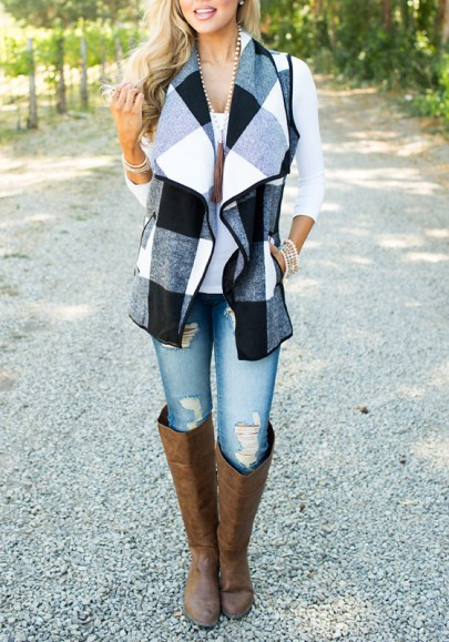 White-Black Plaid Print Pockets Turndown Collar Fall Cardigan Vest