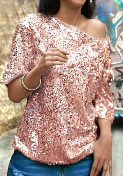 Rose Gold One-shoulder Sequin Glitter Round Neck Elbow Sleeve Clubwear NYE Party Top T-Shirt