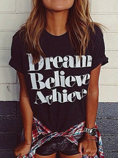 "Black ""Dream Believe Achieve"" Print Casual Going out T-Shirt"