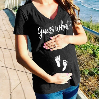 "Black ""Guess What"" Print Deep V-neck Short Sleeve Plus Size Maternity Casual T-Shirt"