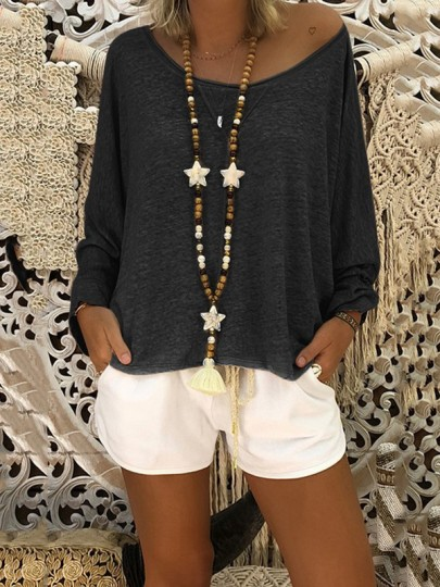 Black Round Neck Long Sleeve Casual T-Shirt