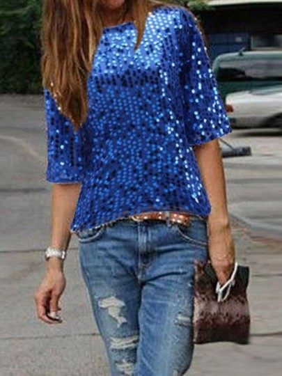 Royal Blue Sequin Round Neck Elbow Sleeve Sparkly Clubwear NYE Party Top T-Shirt