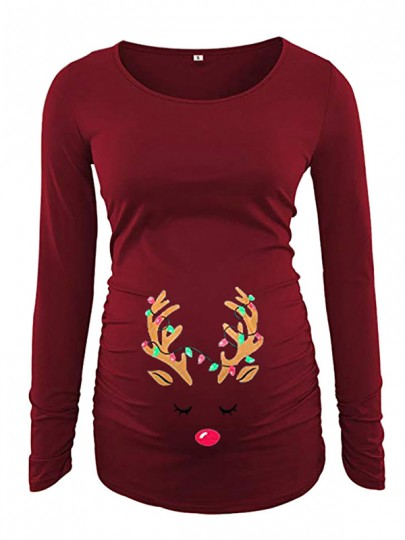 Red Elk Print Christmas Pregnant Long Sleeve Round Neck Casual Maternity T-Shirt