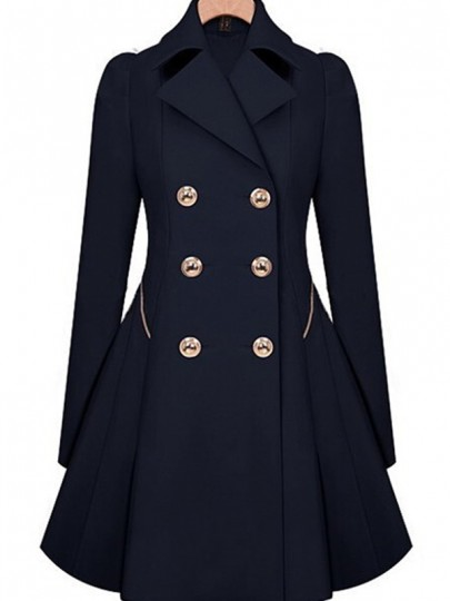 Navy Blue Double Breasted Military Peplum Peacoat Trench Outdoors Melton Coat