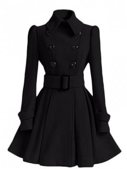 Schwarzer Langarm Stehkragen Mit Gürtel Peplum WollMantel Winter Ausgestellter Mantel Damen Mode