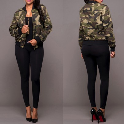 Army Green Camouflage Zipper Pockets Band Collar Long Sleeve Casual Coat