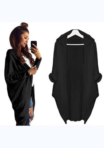 Black Plain Irregular Hooded Casual Cardigan Coat