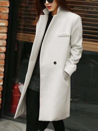 White Pockets Buttons Tailored Collar V-neck Long Sleeve Wool Coat