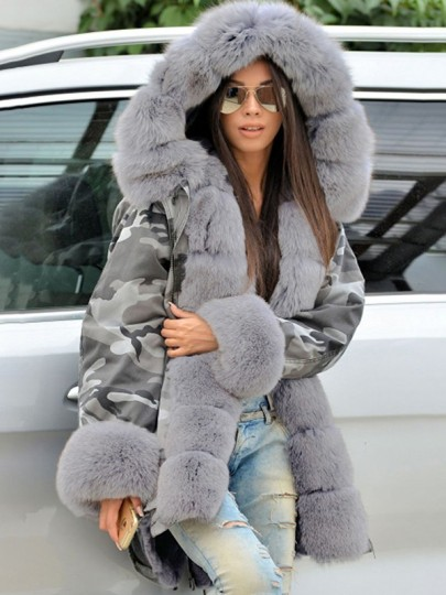 Grey Camouflage Pockets Hooded Fur Collar Long Sleeve Parka Coat