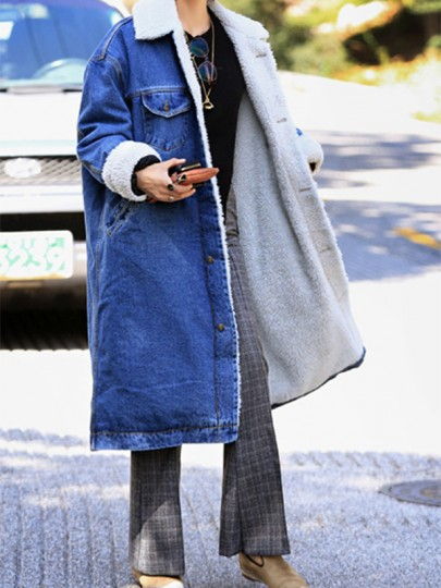 Dark Blue Patchwork Single Breasted Pockets Sherpa Denim Thick Coat