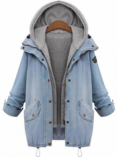 Light Blue Buttons Pockets 2-in-1 Hooded Fashion Denim Outerwear