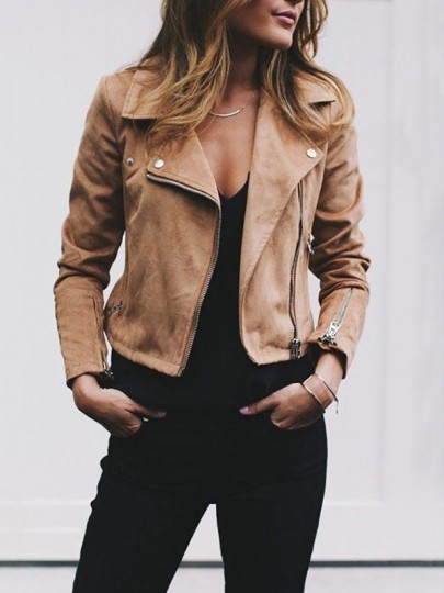 Coffee Zipper Square Neck Long Sleeve Fashion PU Leather Biker Jacket