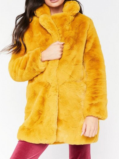 Gelb Kunstpelz Faux Fur Taschen Langarm Warme Winterjacke Mantel Fake Fellmantel Damen Mode