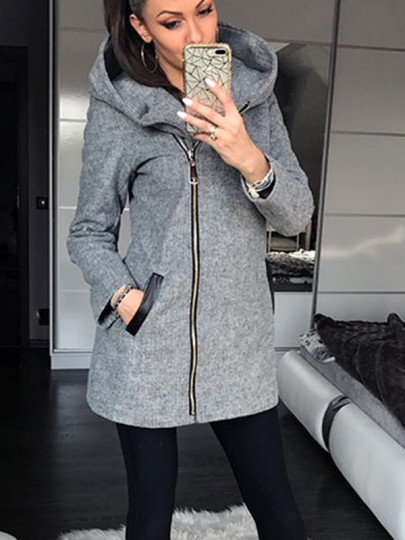 Grey Plain Hooded Zipper Pockets Going out Fashion Coat