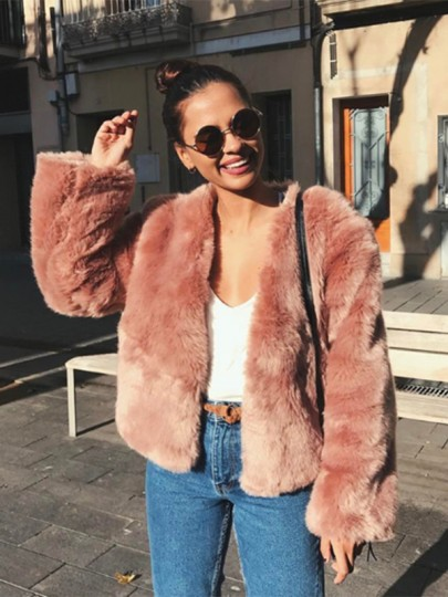 Pink Faux Fur Long Sleeve Thick Fitted Casual Fashion Jacket Outwear Coat