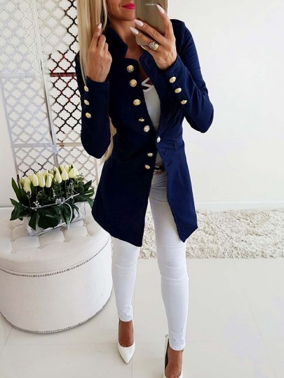 Blue Buttons Long Sleeve Double Breasted Going out Preppy Military Peacoat