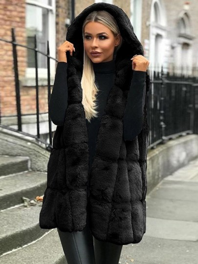 Black Fuzzy Faux Fur Sleeveless Going out Cardigan Bubble Hooded Gilet Coat