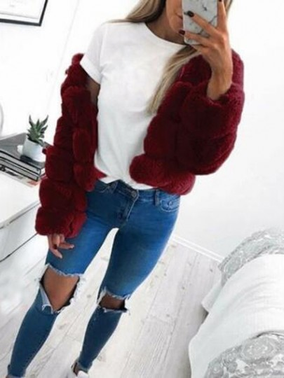 Weinrot Faux Fur Langarm Winter Warme Fellimitat Pelzmantel Felljacke Kurz Damen Mode
