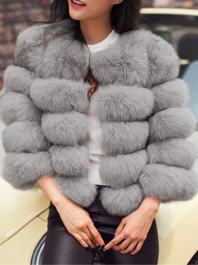 Grey Fuzzy Faux Fur Round Neck Nine's Sleeve Fashion Warm Bubble Coat Ouewear
