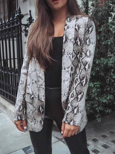 Blazer imprimé python serpent peau manches longues mode femme vestes gris