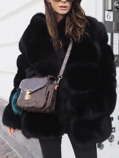Black Fuzzy Faux Rabbit Fur Bubble Thick Warm Long Sleeve Casual Outerwear by Cichic
