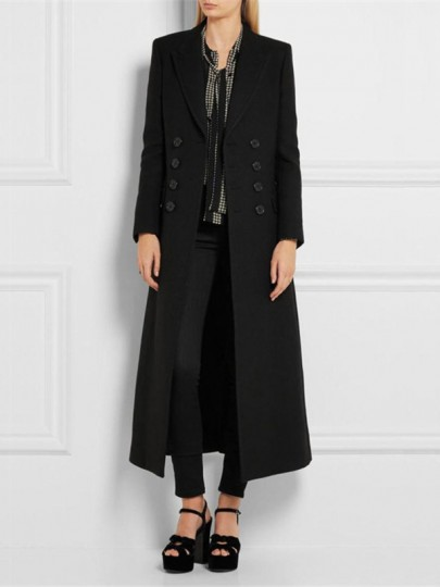Black Pockets Double Breasted Turndown Collar Fashion Wool Long Coat