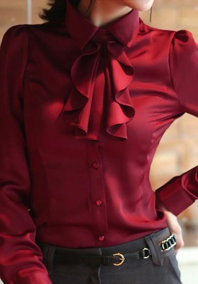 Chemisier uni poitrine manches volantées élégant rouge lie de vin