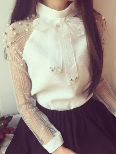 White Patchwork Pearl Grenadine Bow Elegant Loose Blouse